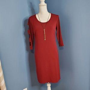 JM Collection Cherry Pie Red Scoop Midi Tee Dress